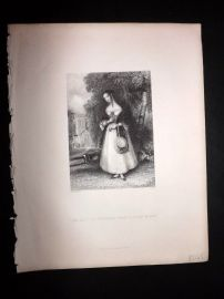 After Franklin 1846 Pretty Lady Print. How Soft the Music of those Village Bells